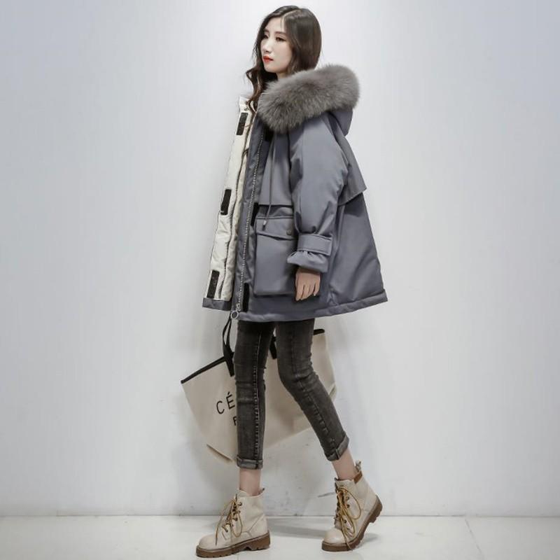 港风冬季毛领派克服保暖外套韩版学生宽松工装棉服ins潮牌棉袄 女/灰色 XL